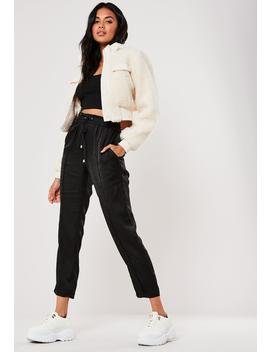 Black Satin Tie Waist Cigarette Pants by Missguided