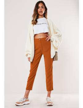 petite-rust-cigarette-pants by missguided
