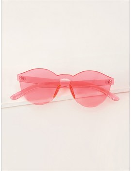 Thin Round Rimless Colored Lens Sunglasses by Romwe