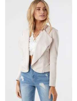 Cropped Suedette Biker by Ally Fashion