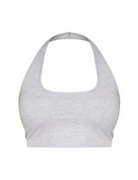 Plus Grey Marl Jersey Halterneck Crop Top  by Prettylittlething