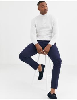 Asos Design Midweight Cotton Half Zip Jumper In White Twist by Asos Design