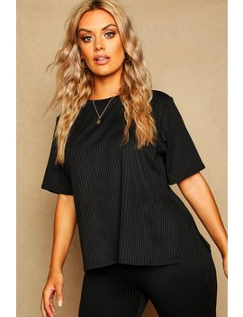 Plus Oversized Side Split Ribbed Tee by Boohoo