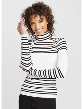 Accent Stripe High Neck Sweater by Contemporaine