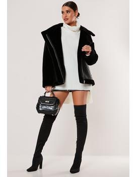 black-faux-fur-sleeve-oversized-aviator-jacket by missguided