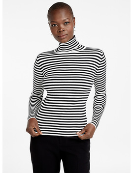 Two Tone Stripe Ribbed Turtleneck by Contemporaine