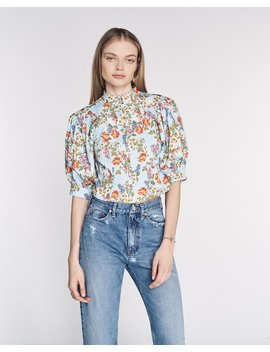 Jules Print Top In Periwinkle English Bouquet by Marissa Webb