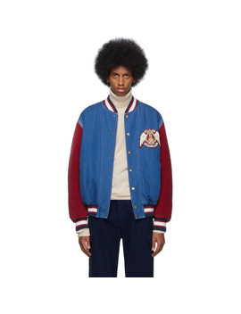 Blue & Red Denim Bomber Jacket by Gucci