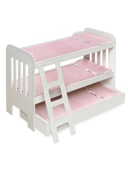 "Badger Basket Trundle Doll Bunk Bed With Ladder And Free Personalization Kit   White/Pink   Fits American Girl, My Life As & Most 18"" Dolls by Badger Basket"