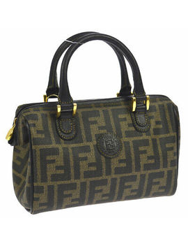 Fendi Pequin Pattern Mini 2way Hand Bag Purse Black Pvc Leather Vintage Ak34915 by Fendi