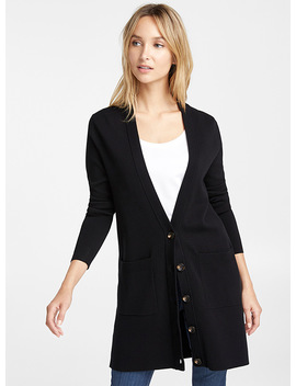 Long Ribbed Edge Cardigan by Contemporaine