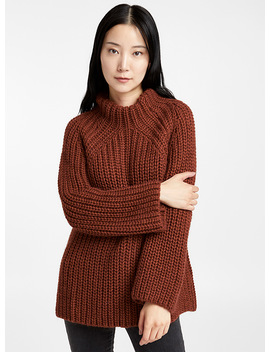 Chunky Knit Mock Neck Sweater by Contemporaine