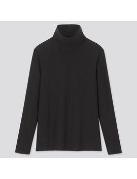 Damen Geripptes Langarmshirt Aus Baumwolle Mit Rollkragen by Uniqlo
