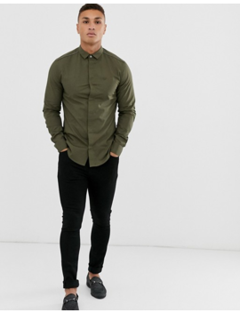 Emporio Armani Slim Fit Tipped Long Sleeve Shirt In Khaki by Emporio Armani
