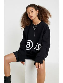 Mm6 Logo Black Crew Neck Sweatshirt by Mm6 Maison Margiela