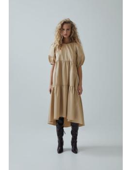 Asymmetric Poplin Dress Midi Dresses Trf by Zara