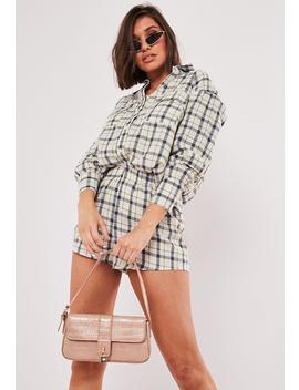 Stone Co Ord Plaid Oversized Shirt by Missguided