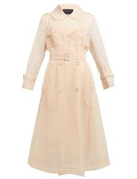 Faux Pearl Embellished Tulle Trench Coat by Simone Rocha