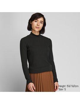 Damen Geripptes Langarmshirt Mit Stehkragen by Uniqlo