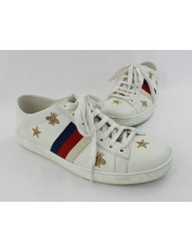 Gucci White Leather Gold Bee Star Embroidered Lace Up Sneaker Shoe Size 38 8 by Gucci