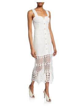 Fishnet Crochet Lace Midi Dress by Self Portrait