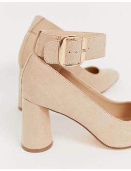 London Rebel Circular Heeled Shoes In Beige by Heels