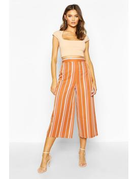 Striped Wide Leg Woven Culottes by Boohoo