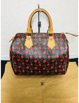 Louis Vuitton Monogram Cherry Speedy 25 Hand Bag Women Takashi Murakami Ladies by Louis Vuitton