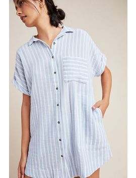 Tara Striped Sleep Shirtdress by Plush Apparel