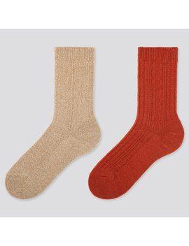 Damen Heattech Socken Mit Zopfmuster (2 Paar) by Uniqlo