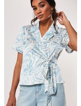 blue-zebra-print-satin-wrap-front-shirt by missguided