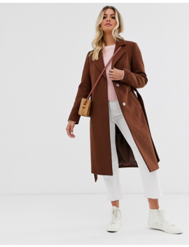 New Look Tailored Belted Coat In Rust by New Look