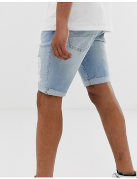 Hollister Skinny Fit Destroyed Denim Shorts In Light Wash by Hollister