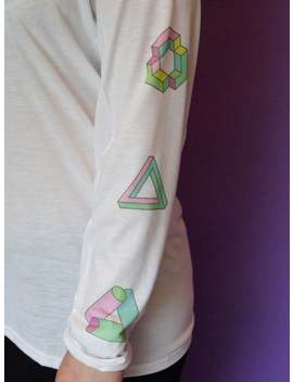 Geometic Illusions Long Sleeved T Shirt by Etsy