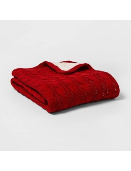 Solid Cable Knit Chenille With Sherpa Reverse Throw Blanket   Threshold by Threshold