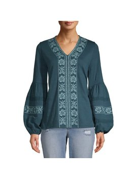 Women's Embroidered Sleeve Peasant Top by Time And Tru