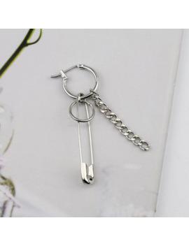 Jisensp 2018 New Stainless Steel Safety Pin Geometry Chain Punk Earrings Irregular Stud Earrings For Women Men Fashion Jewelry by Ali Express.Com