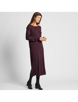 Damen LangÄrmliges Kleid Aus Merinowoll Mix Mit U Bootausschnitt by Uniqlo
