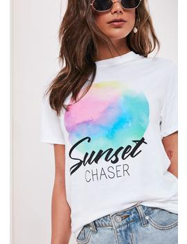 White Sunset Chaser Graphic T Shirt by Missguided