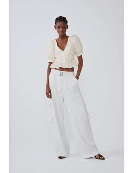 Voluminous Textured Top Tops Shirts Trf by Zara
