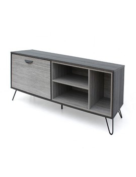 Dorrin Mid Century Wooden Tv Stand Sonoma Gray Oak Brown   Christopher Knight Home by Christopher Knight Home