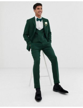Asos Design Wedding Skinny Suit In Forest Green Micro Texture by Asos