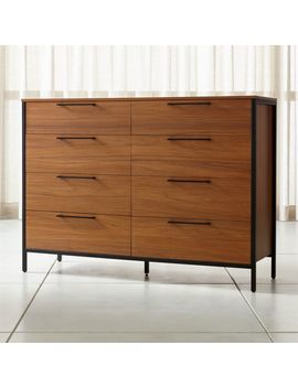 James Walnut With Black Frame 8 Drawer Dresser With Power Outlet by Crate&Barrel