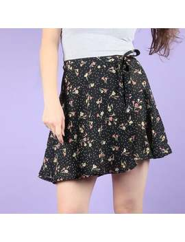 90s Vintage Bohemian Floral Navy Blue Wrap Mini Skirt by Etsy