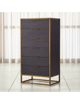 Oxford Black 6 Drawer Tall Chest by Crate&Barrel