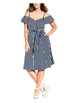 Trendy Plus Size Cold Shoulder Fit & Flare Dress by General
