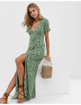Asos Design – Småblommig Maxiklänning Med Knappar Och Slitsar by Asos Design