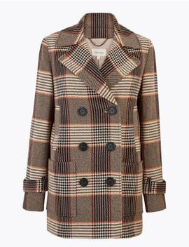 Checked Double Breasted Peacoat by Marks & Spencer