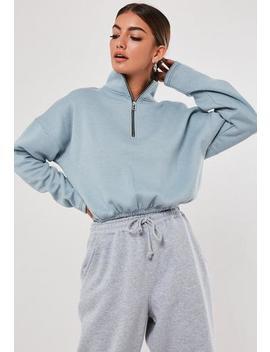 Blue Zip Front Gathered Waist Sweatshirt by Missguided