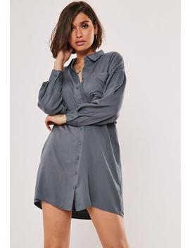 Blue Utility Shirt Dress by Missguided
